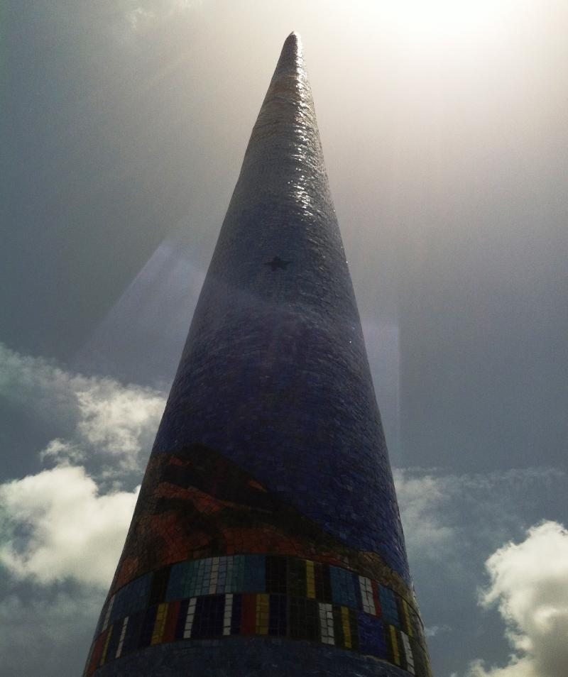A mosaic spire is among the art installations at Patriot Plaza.