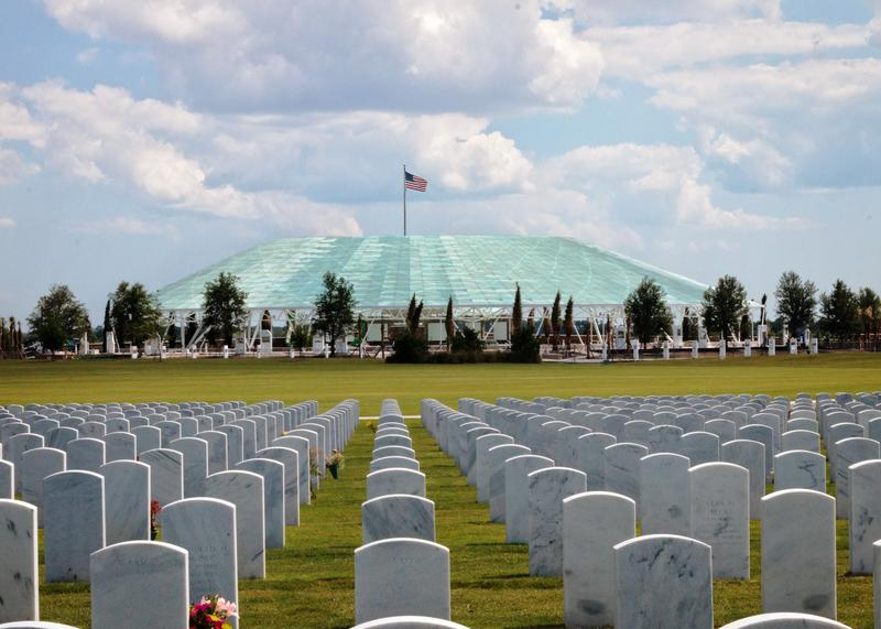 Sarasota National Cemetery in the distance is Patriot Plaza a place for individual contemplation and community gatherings.