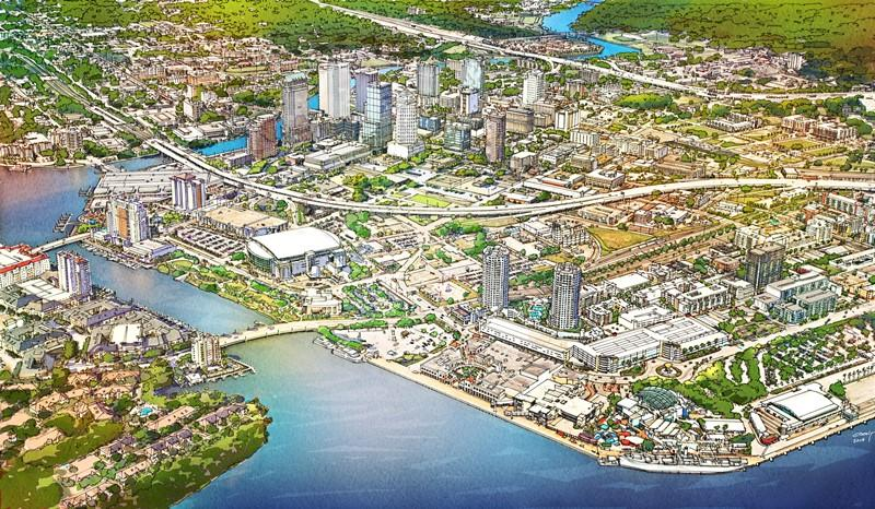 Aerial view of proposed district from the east - Channelside Bay Plaza is at lower right