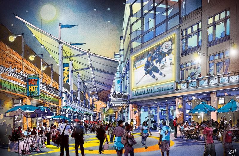 """A """"Tampa Live"""" retail corridor will connect the Amalie Arena to a new hotel and the Tampa Convention Center"""
