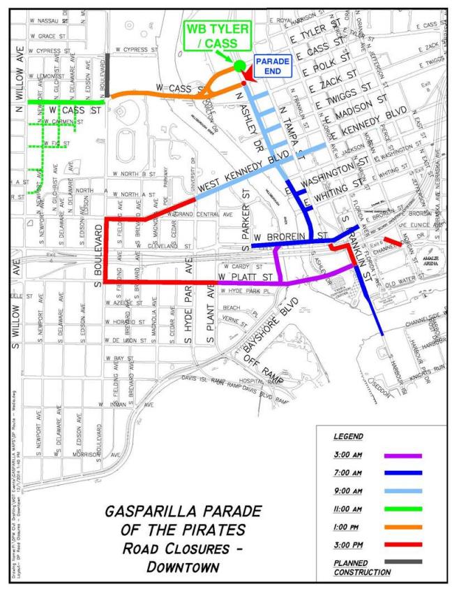 Gasparilla 2016 Street Closures Schedule Maps WUSF News