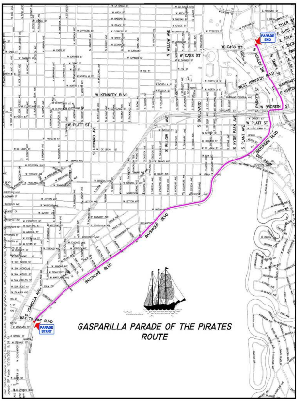 gasparilla 2015 street closures schedule maps wusf news. Black Bedroom Furniture Sets. Home Design Ideas