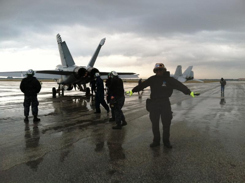Despite the rainy weather, MacDill Air Force Base is an ideal training ground for Navy pilots because of the proximity to the Avon Park Range.