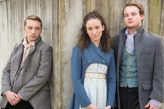 "Student-actors Cliff Kelley (l to r), Jordan DeShong and Landon Layland in a press photo for ""A Tale of Two Cities"""