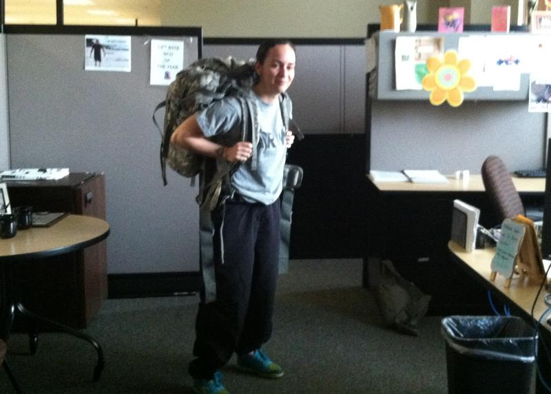 "SSG Aidana Baez with her ""ruck"" carrying 45 pounds for her practice six-mile march in preparation for the statewide NCO of the Year competition."