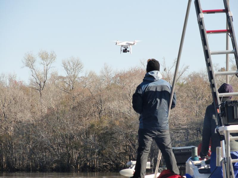 A drone used by the support crew filming a documentary about the expedition
