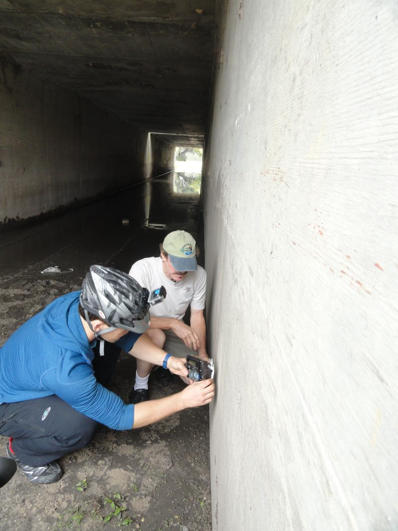 Expedition member Joe Guthrie, left, and UCF biologist Daniel Smith install cameras under I-4