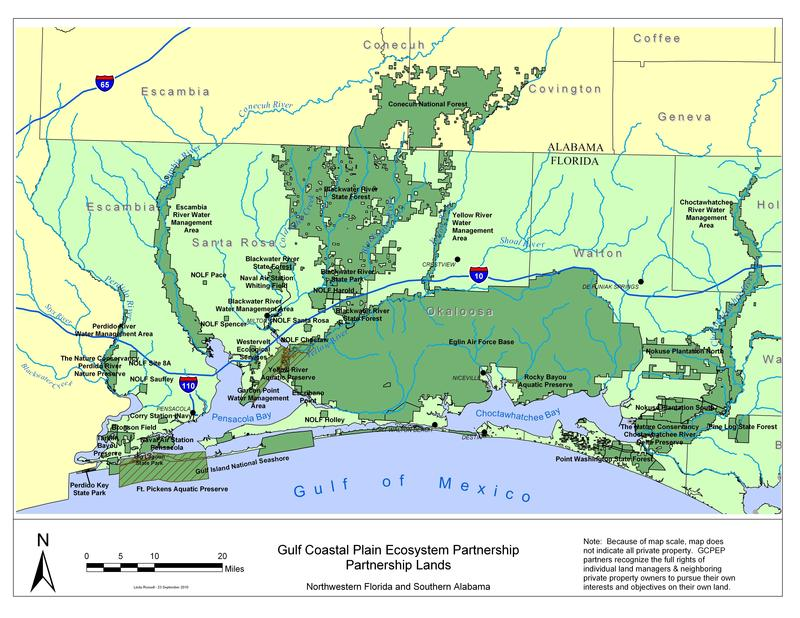 Map of the wildlife corridor centered on Blackwater River State Forest, Conecuh National Forest and Eglin AFB