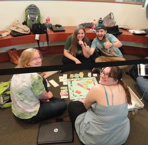 Students kept busy by playing board games.