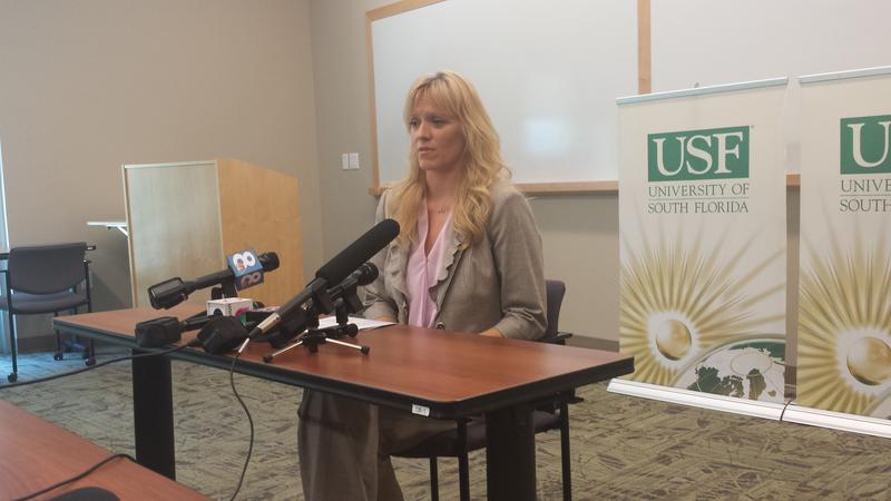File Photo: USF Anthropology Professor Erin Kimmerle talks to reporters