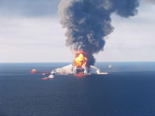 The Deepwater Horizon burns after the wellcap blew out April 20, 2010