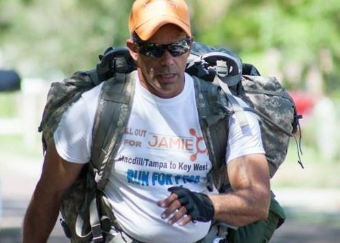Former Army Ranger Alex Estrella after starting his 405-mile trek to Key West to honor Jamie and raise awareness about PTSD and veteran suicide.