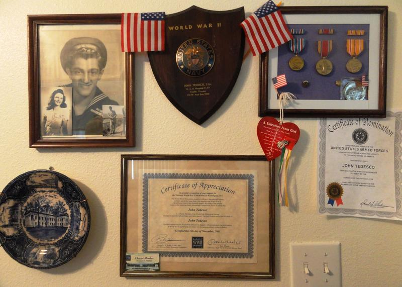 Some of the World War II memoribilia that adorns the Tedesco's home in Pasco County.
