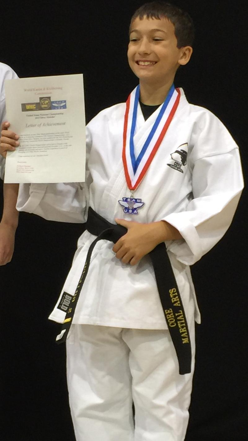 Sammy Gillespie at the World Karate and Kickboxing National Championships, where he qualified for the World tournament.