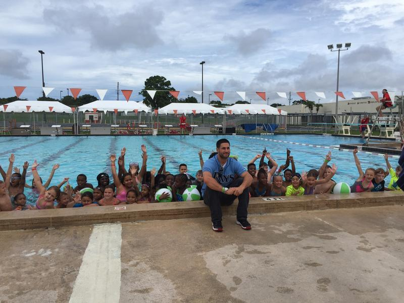 Rays outfielder Kevin Kiermaier made a splash at Northeast High School in St. Pete to promote safe swimming.