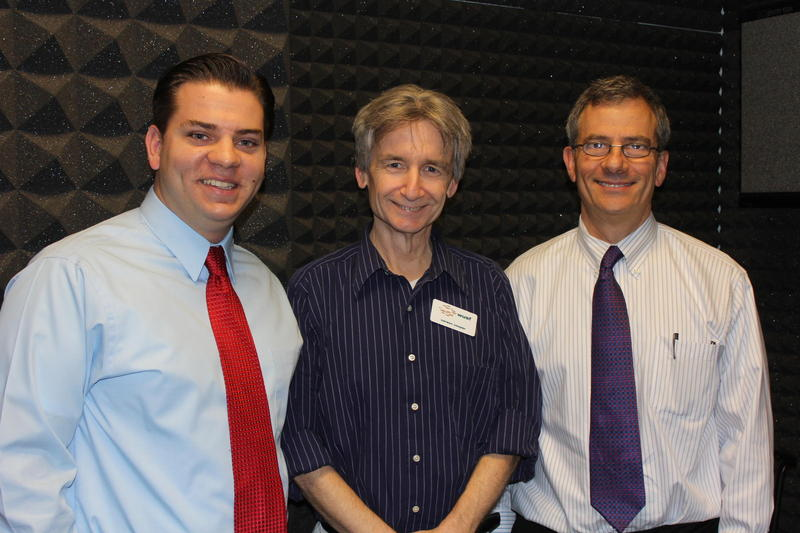 Mike Reedy with Equality Florida, Florida Matters host Carson Cooper and attorney Alan Gassman in the WUSF studio