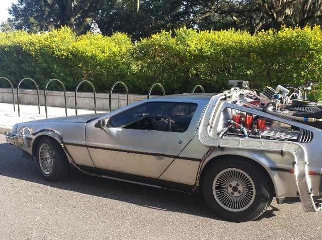 "A DeLorean time machine like the one from the movie ""Back to the Future"" greeted USF students as they checked in Thursday."