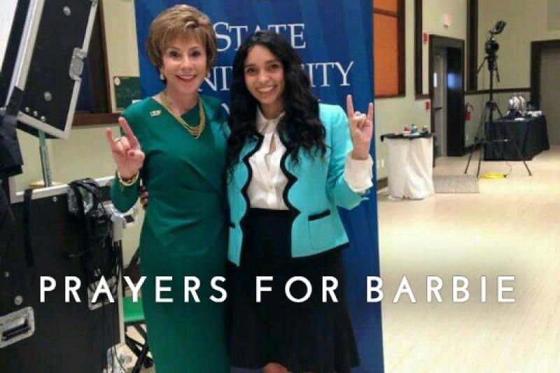 USF senior Barbara Jimenez, who is currently in a Cuban hospital after a car accident, poses with USF President Judy Genshaft.