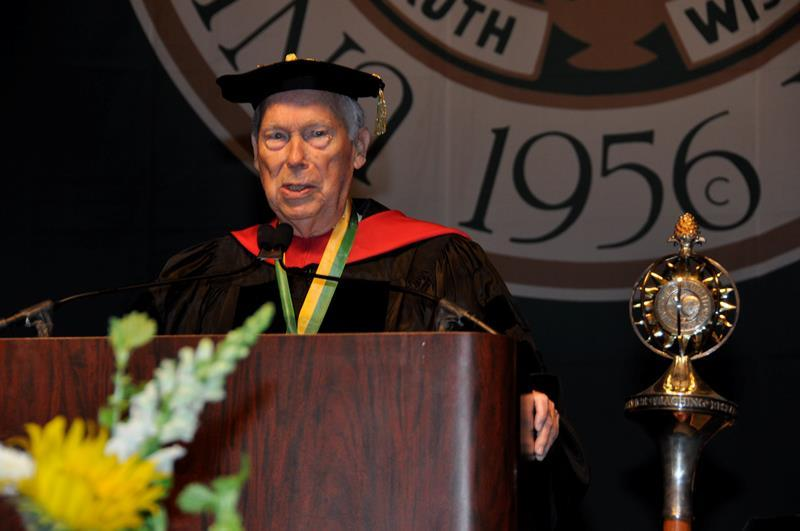 John F. Germany speaks at USF commencement in Dec. 2012 where he was awarded the USF President's Fellow Medallion in 2012.