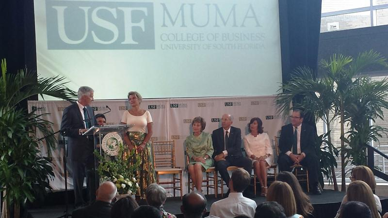 Barry and Dana Collier announce the Collier Student Success Program at the USF Muma College of Business.