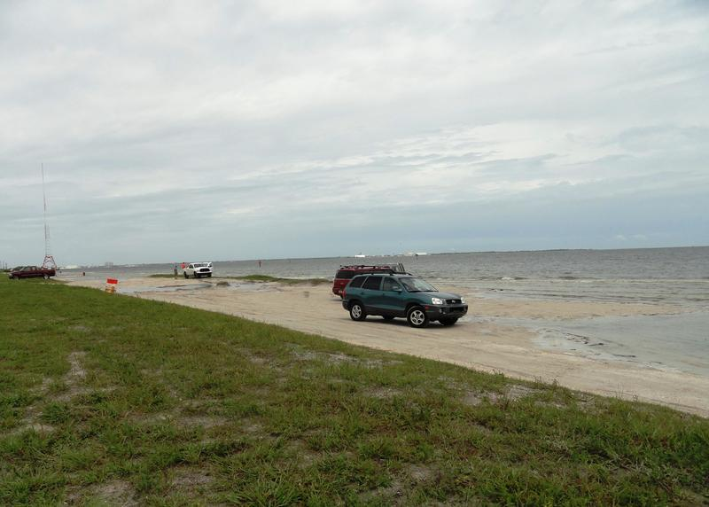 Gandy Beach on Tampa Bay is one of the few beaches where you can still drive your car onto the sand.