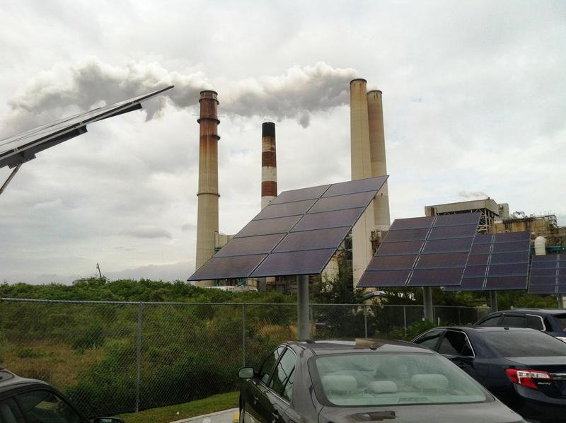 Solar panels in place at the manatee viewing area at Tampa Electric's Big Bend power plant