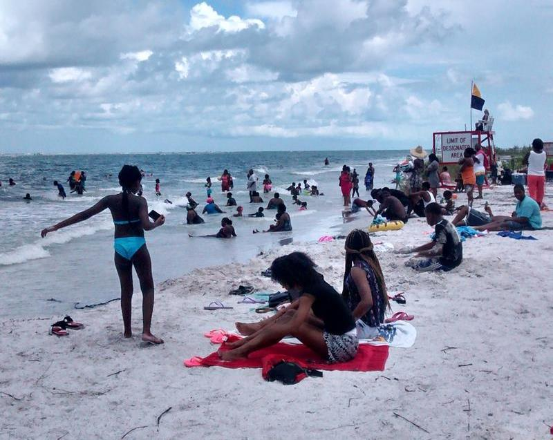 Beachgoers at Fort De Soto's North Beach
