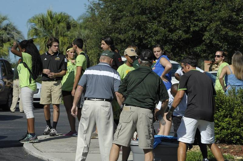 Faculty, students and staff are joined by Dr. William Lennox, Saint Leo University's ninth president, for  Move-In Day, August 20, at the Pasco County campus.