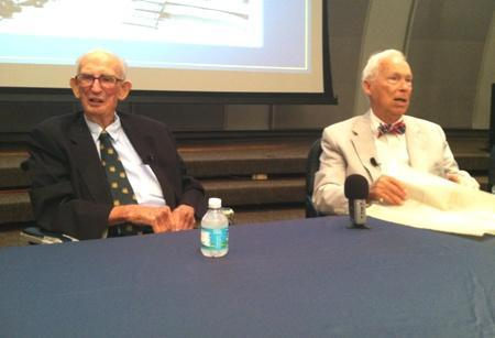 John F. Germany, right, with Sam Gibbons in 2012
