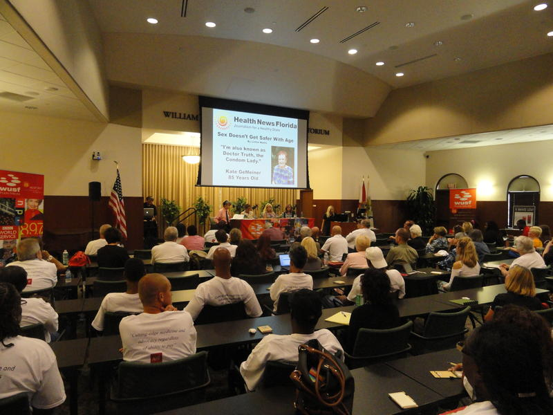 Dozens filled Selby Auditorium at USF Sarasota-Manatee on Sept. 1 for a Florida Matters town hall on the rising tide of HIV in Florida.