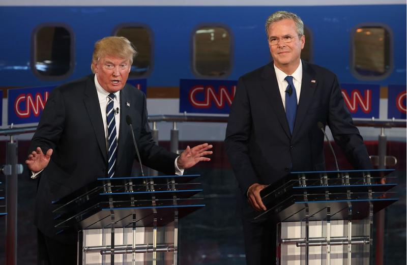 The Donald and Jeb at the second GOP debate