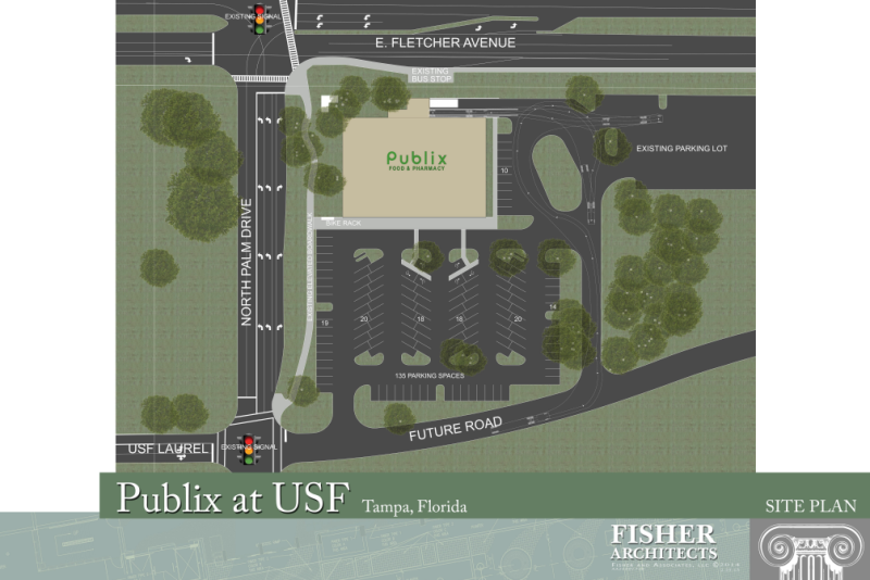 Site plan for Publix to be built on USF Tampa campus.