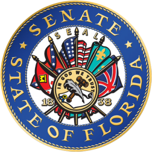 The existing seal of the Florida state senate. A committee is reviewing whether the Confederate flag should be removed.