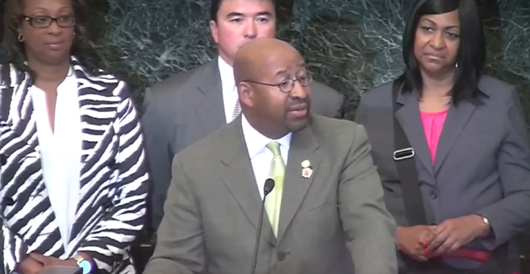 Philadelphia Mayor Michael Nutter at a news conference where he accuses the media of scaring people away from the Pope's visit
