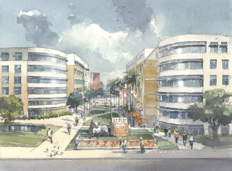 Preliminary artist rendering of the new USF student housing village.