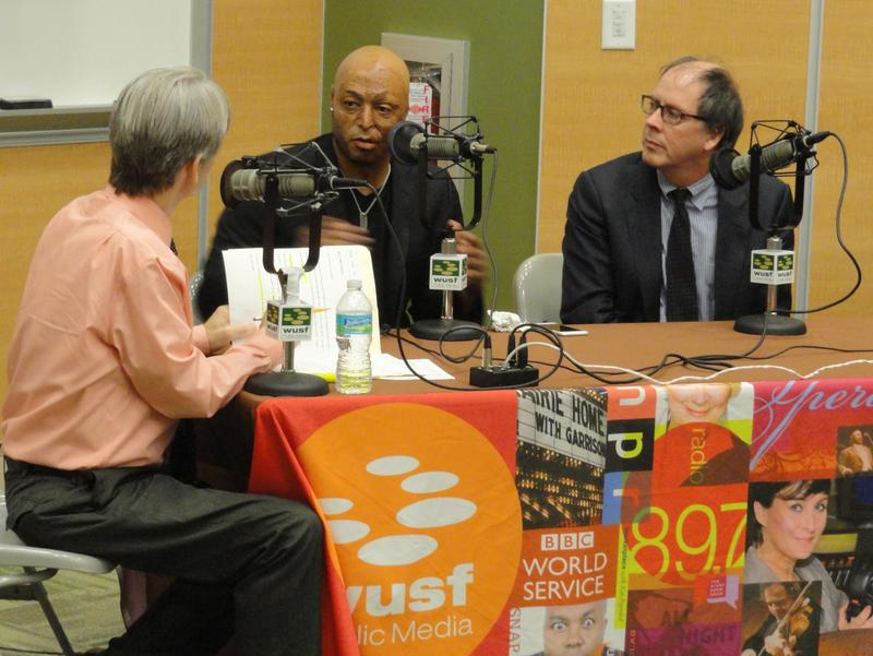 WUSF's Carson Cooper, disabled veteran J.R. Martinez and filmmaker Ric Burns.