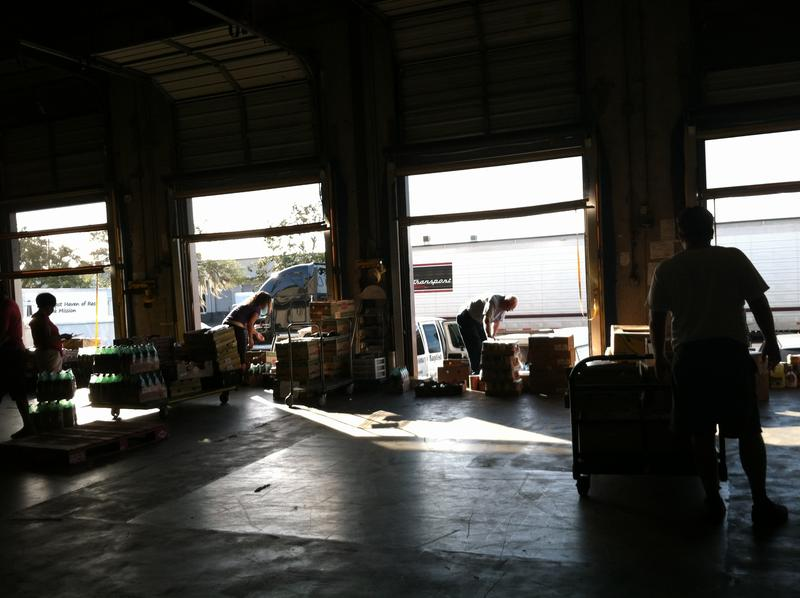 There's constant activity at the Feeding Tampa Bay loading dock.