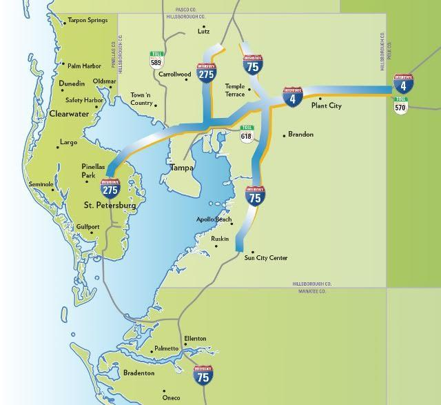 This map shows where express toll lanes would be added.