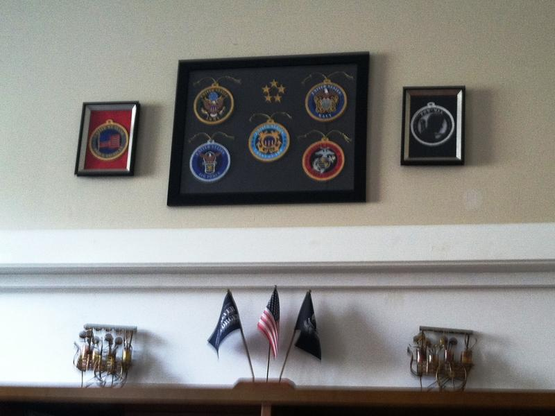 Reminders of military service are scattered throughout Athena House.