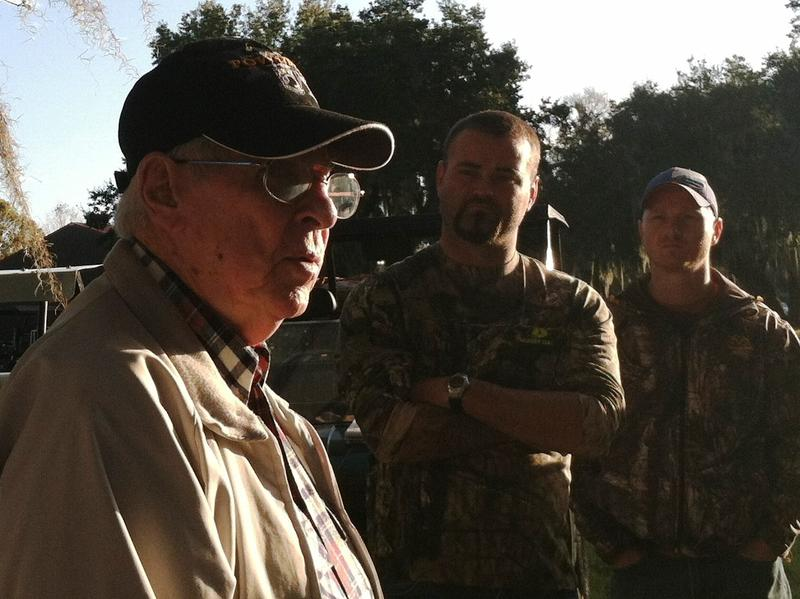 World War II veteran and POW Tracy Taylor, in the foreground,  was the special guest at a recent gator hunt for wounded warriors from the Iraq and Afghanistan wars.