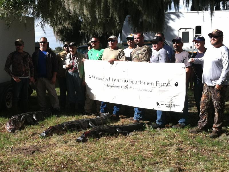 Participants in the Wounded Warrior Sportsmen Fund gator hunt at Lake Hancock in December.