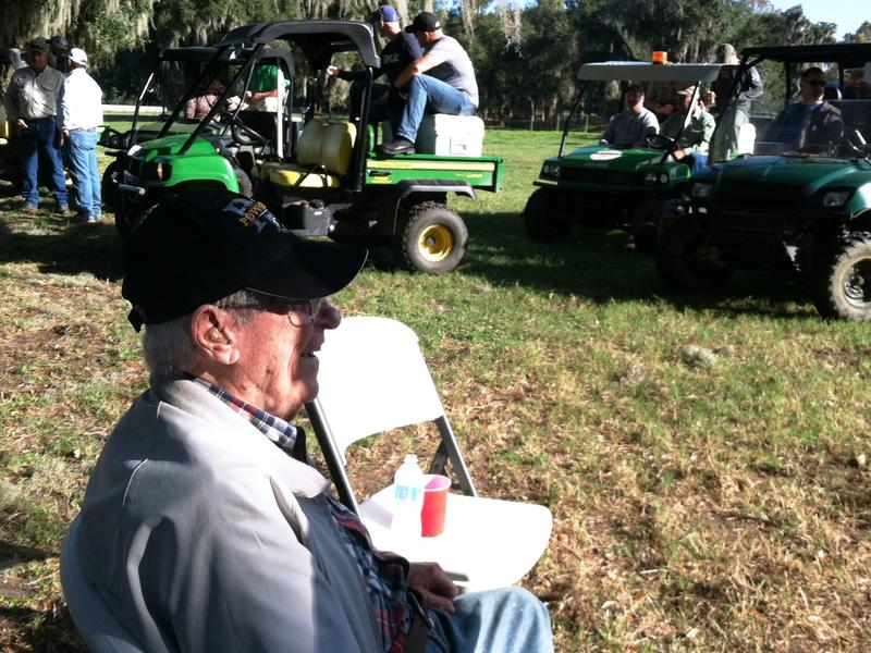 The 95-year-old veteran and former prisoner of war, Tracy Taylor, sits for a moment before heading out on the gator hunt.