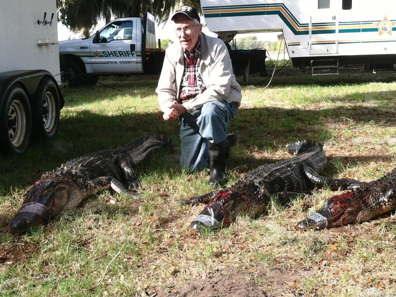 World War II veteran and POW Tracy Taylor was invited to join veterans from the Iraq and Afghanistan wars for a gator hunt in Polk County.