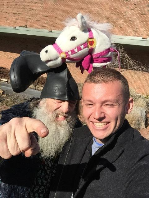 Candidate/political satirist Vermin Supreme (left) was pretty popular with the students, including Rubio backer Christopher Happel. The performance artist's platform includes the promise of a free pony for every American.