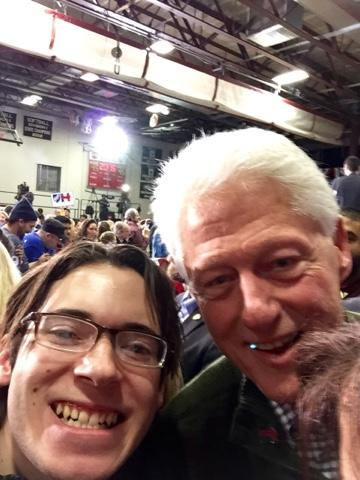 """Hillary Clinton supporter Antonio Permuy meets former President Bill Clinton. Permuy: """" I never would have thought that I'd leave (New Hampshire) having shaken both Clinton's hands twice."""""""