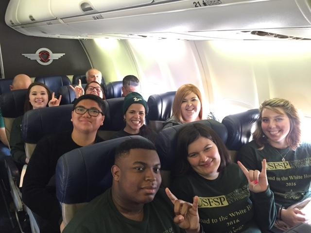 Some of the class on the flight from Tampa to New Hampshire, much more bright-eyed than they were on the flight home.