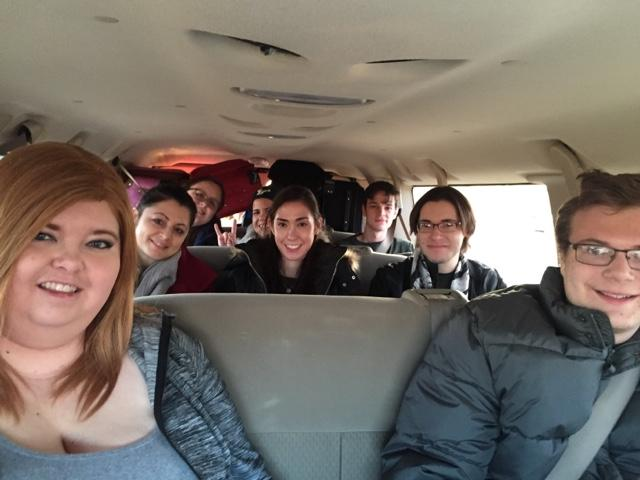 23 students plus luggage meant three vans had to take the class from the airport to their hotel.