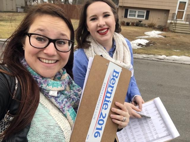 """Alyssa Winston and Samantha Kendall go door to door for Bernie Sanders. Kendall: """"Just the opportunities that we've had and the people that we've met, it's really just been incredible."""""""