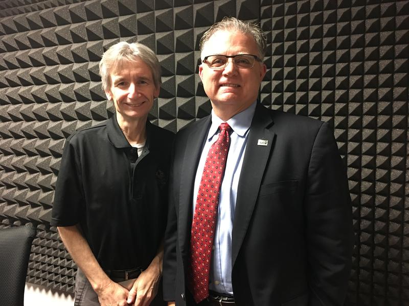 WUSF's Carson Cooper and USF College of Engineering Dean Robert Bishop