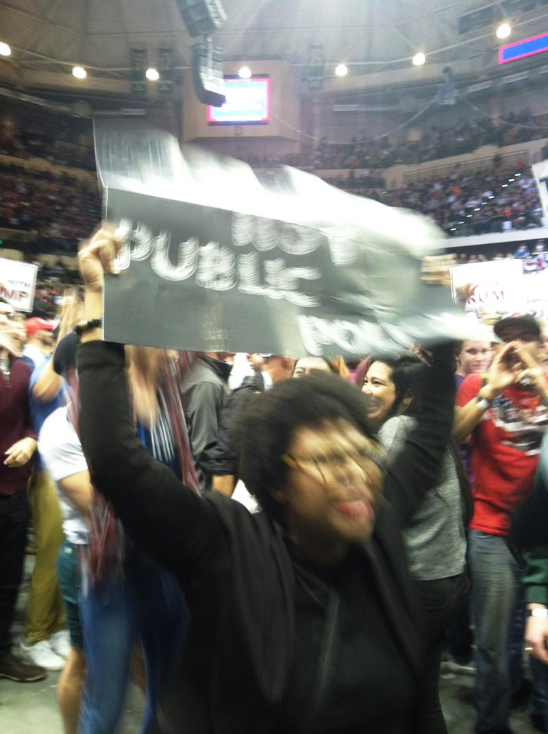 """Protester at Donald Trump rally cries """"Racism is not a public policy"""" before getting shouted down at USF Sun Dome"""